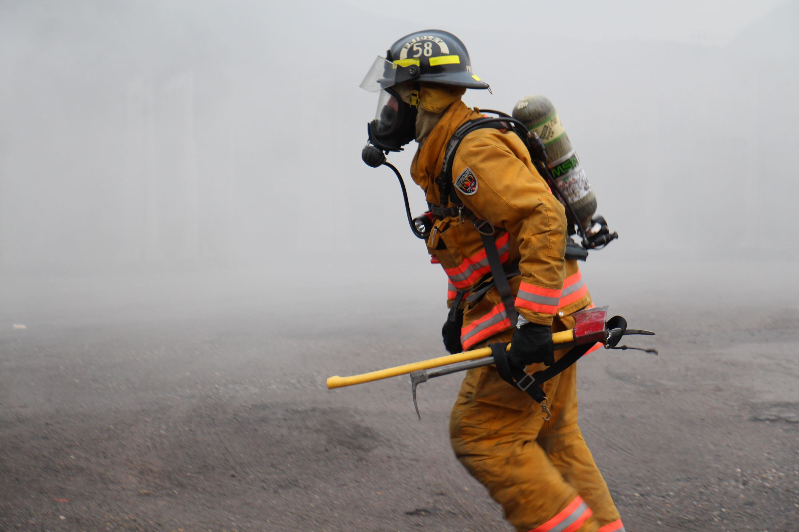 firefighter in smoke