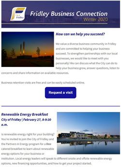 Front page of Business Connection newsletter; article about business visits