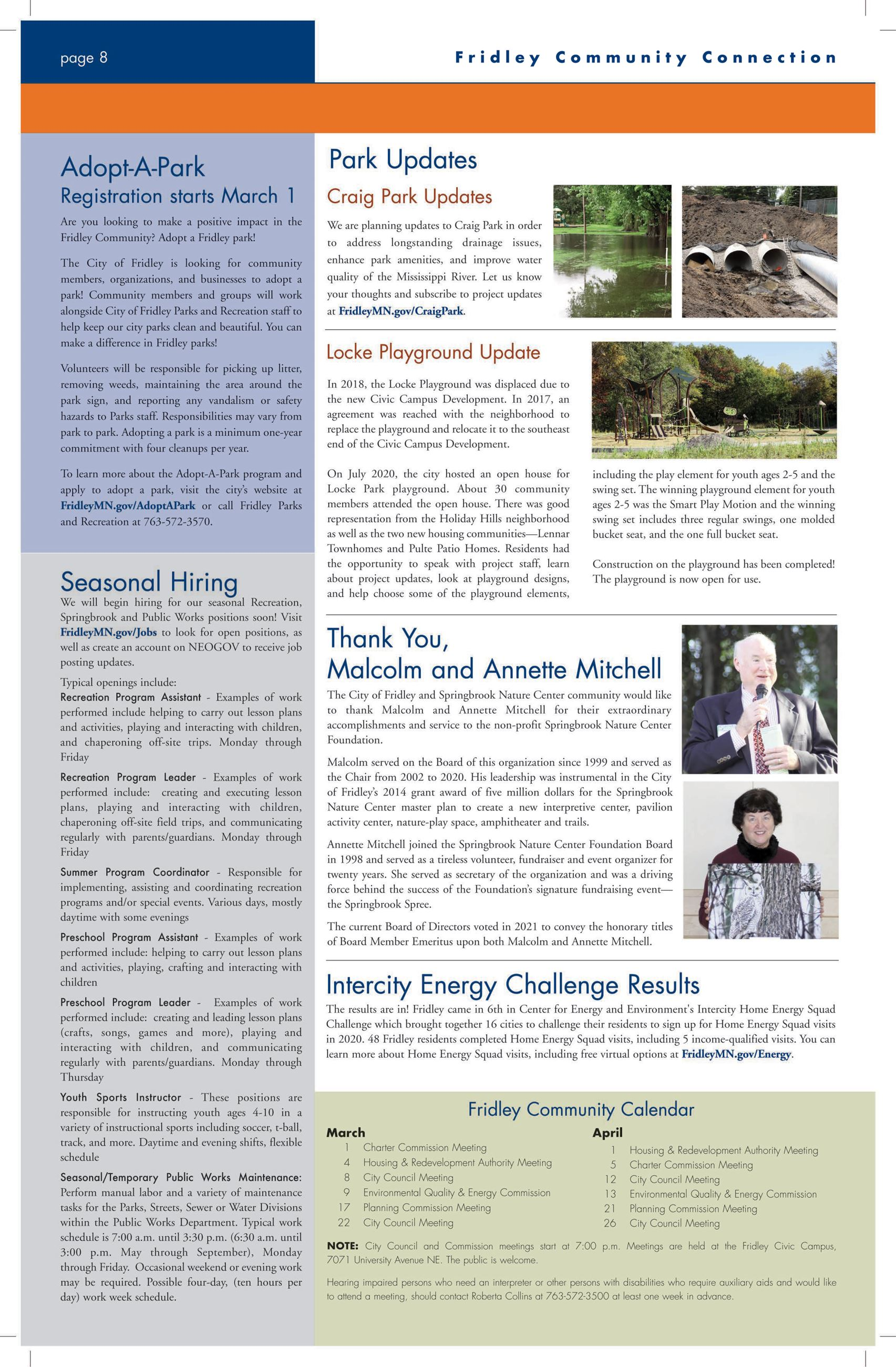 Back page of March April newsletter
